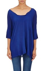 Raquel Allegra Women's Combo Short Sleeve Blouse Blue