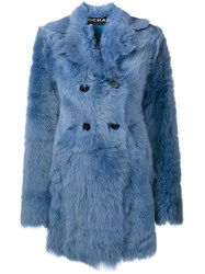 Rochas Shearling Coat Blue
