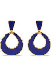 Kenneth Jay Lane Gold Plated Enamel Earrings Blue