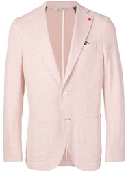 Manuel Ritz Lapel Button Blazer Pink