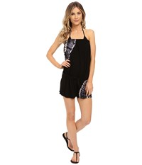 Lucky Brand Half Moon Drawcord Romper Black Women's Jumpsuit And Rompers One Piece