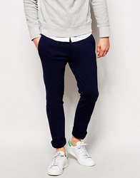 Asos Super Skinny Fit Trousers In Jersey Navy