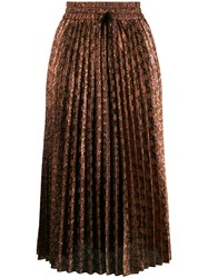 Red Valentino V Metallic Jacquard Accordion Pleat Skirt 60