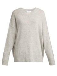 Allude Round Neck Cashmere Sweater Light Grey