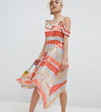 Lost Ink Petite Midi Dress With Tie Waist In Tropical Mix And Match Print Orange Multi