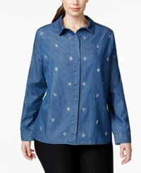 Nanette By Nanette Lepore Plus Size Rhinestone Embellished Denim Shirt Only At Macy's