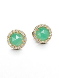 Mija Light Green Jade And White Sapphire Mini Button Earrings Green Gold