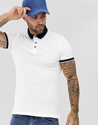 New Look Muscle Fit Tipped Polo In White