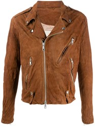 Giorgio Brato Leather Biker Jacket Brown