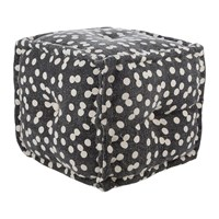 Amara Spotted Cube Pouf Navy Natural