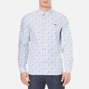 Lacoste L Ve Men's Large Polka Dot Long Sleeve Shirt Admiral Blue White White