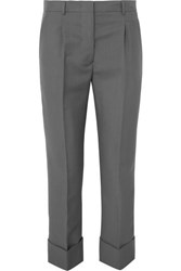Prada Cropped Mohair And Wool Blend Straight Leg Pants Gray