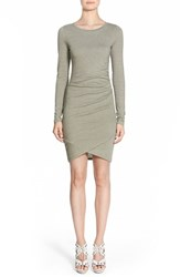 Women's Leith Ruched Long Sleeve Dress Olive Sarma Heather
