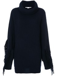 Stella Mccartney Volume Fringe Sweater Cashmere Wool Blue