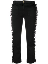 The Seafarer Cropped Trousers With Looped Fringe Black
