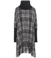 Dolce And Gabbana Wool Cashmere Cotton Blend Poncho Black