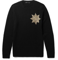Alexander Mcqueen Embellished Shetland Wool Sweater Black
