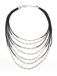 John Hardy Bamboo Sterling Silver And Black Cord Multi Strand Necklace Silver Black