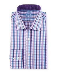 English Laundry Check Woven Dress Shirt Lavender Blue