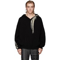 Ann Demeulemeester Black And White Wool Hoodie