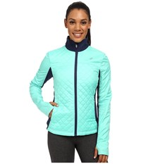 Asics Thermopolis Windblocker Jacket Aqua Mint Indigo Blue Women's Workout Green