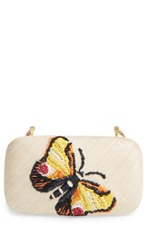Franchi Flutter Embroidered Butterfly Box Clutch
