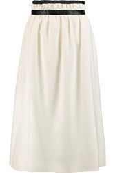 Mother Of Pearl Eloise Gathered Twill Midi Skirt Ivory