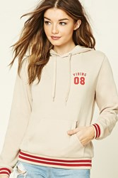 Forever 21 Vibing 08 Graphic Hoodie Tan Red