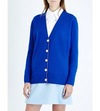 Christopher Kane Metallic Trim Wool And Cashmere Blend Jumper Blue