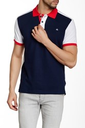 Micros Regular Fit Colorblock Short Sleeve Polo Blue