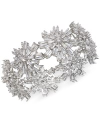 Jewel Badgley Mischka Silver Tone Crystal Starburst Stretch Bracelet