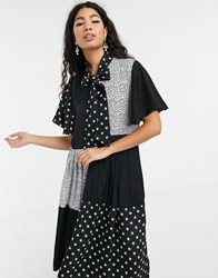 Sister Jane Pleated Midi Dress With Pussybow In Animal Star Mixed Print Black