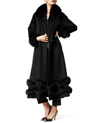 Belle Fare Fox Trim Ankle Length Cashmere Coat Black