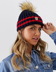 Superdry Aimee Stripe Ribbed Beanie Navy