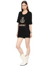 Etoile Isabel Marant Rainbow Logo Linen T Shirt Dress