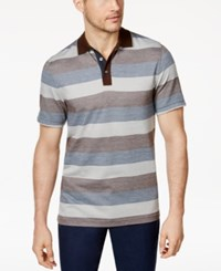 Tasso Elba Men's Striped Supima Polo Only At Macy's Tan Combo