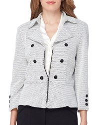Tahari By Arthur S. Levine Military Zip Front Peplum Jacket White Black
