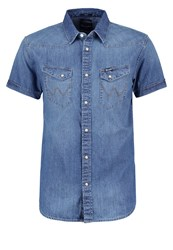 Wrangler Western Slim Fit Shirt Mid Indigo Blue Denim