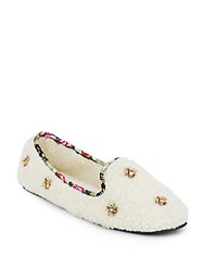Isaac Mizrahi Embellished Faux Shearling Slippers White