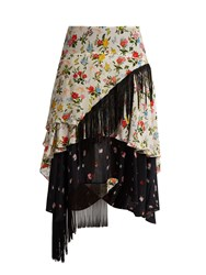 Preen Line Rochelle Floral Print Crepe De Chine Skirt Pink Multi