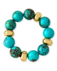 Nest Beaded Stretch Bracelet W Accents Turquoise