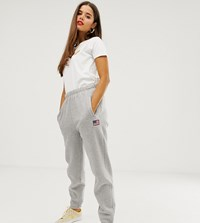 Daisy Street Relaxed Cuffed Joggers With Embroidered Usa Patch Grey
