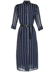 Michael Michael Kors Striped Belted Shirt Dress Blue