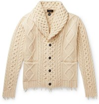 Alanui Fringed Shawl Collar Cable Knit Wool And Cashmere Blend Cardigan Cream