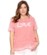 Allen Allen Plus Size Love Print High Low Tee Begonia Women's T Shirt Pink