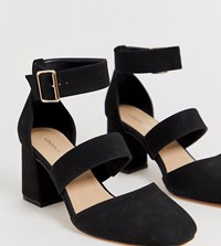 London Rebel Wide Fit Square Toe Block Heels Black