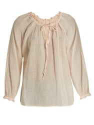 Velvet By Graham And Spencer X Kirsty Hume Sunflower Cotton Gauze Top Light Pink
