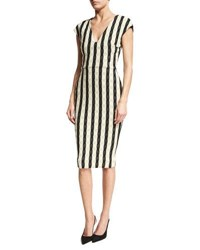 Victoria Beckham Gingham Striped Cap Sleeve Dress Black White Black White