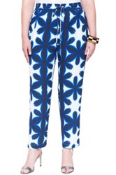 Eloquii Print Drawstring Pants Plus Size Blue