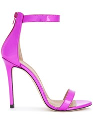 Marc Ellis Ankle Strap Stiletto Sandals Leather Metal Other Pink Purple